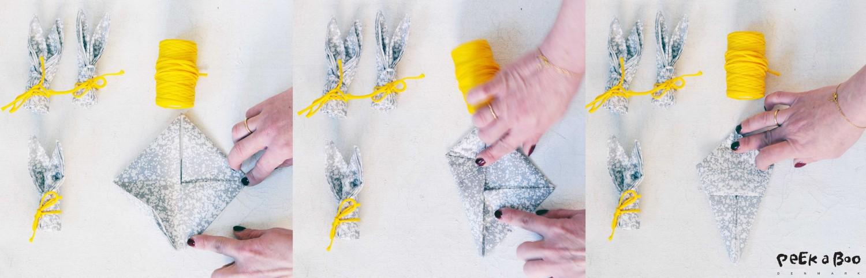 Folding Bunny napkin tutorial step-4-6