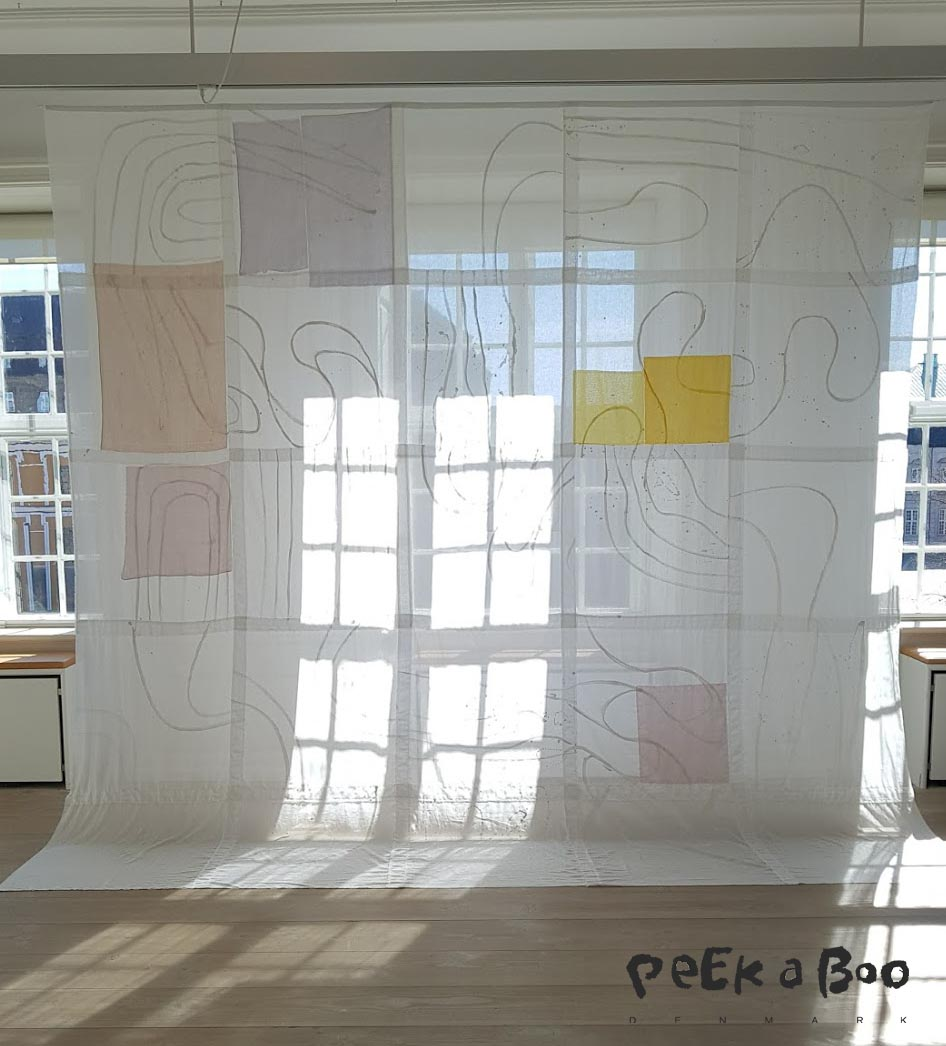 A white version of the gaze squares sewn together to make a beautiful art piece.