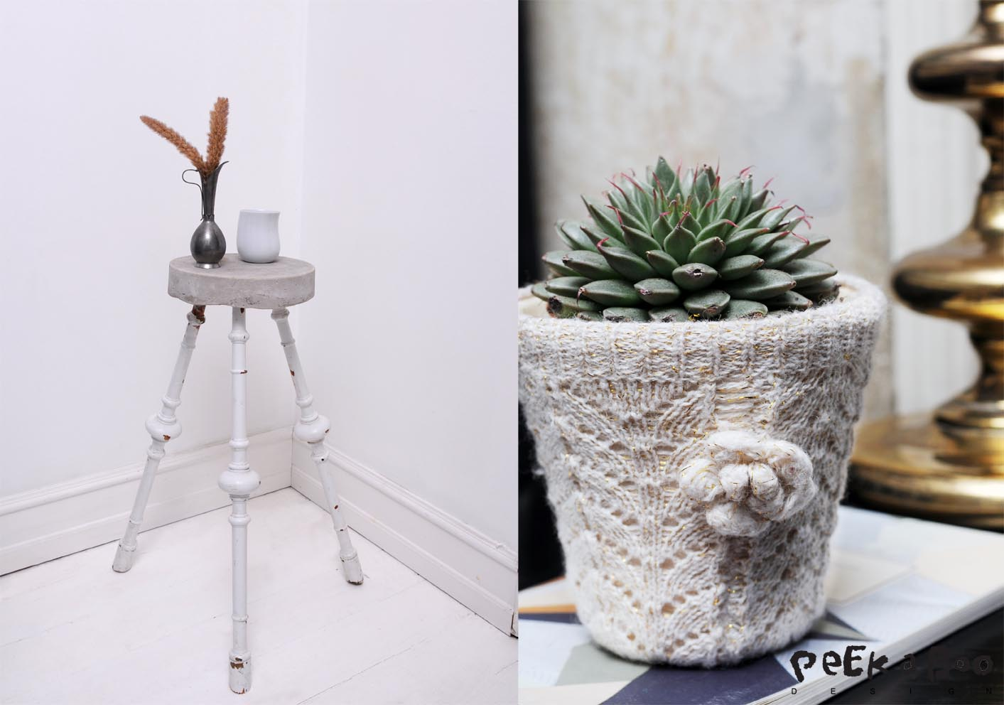 small concrete table where I used balusters as legs. And cover your flowerpots with old knitted socks for a feminine look.
