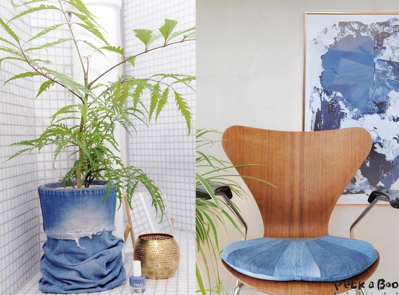 Use the leg of a pair of jeans to cover a boring looking flowerpot, or cut up the jeans in strips for at perfect seat for your favorite chair.