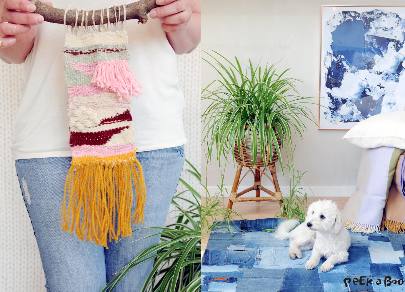 Use your leftover yarn for creative weaving, and make patchwork carpet of your wornout jeans.