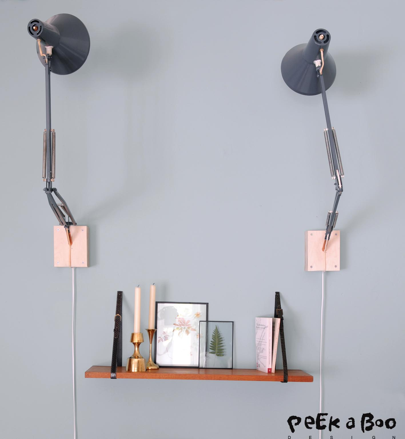 "The shelf and wallholder for the lamps are DIY projects from my book. ""Kreative redesign af dine Loppefund."