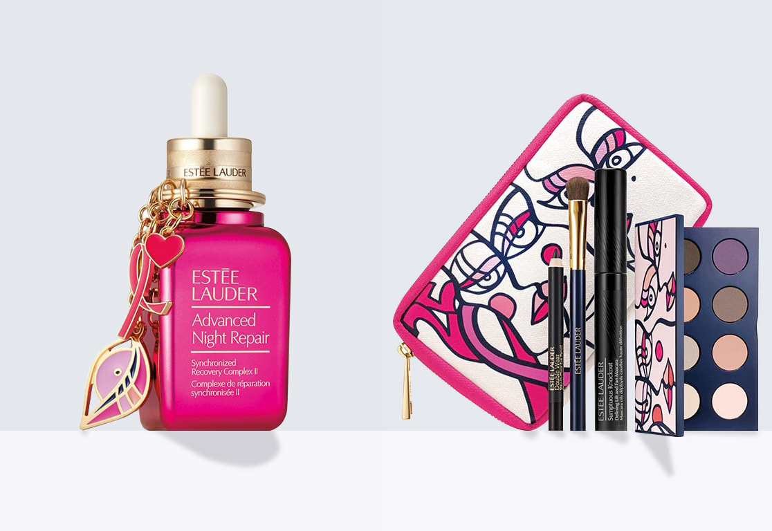 The products that you can buy from Estee Lauder. Here the entire profit will go to cancer research. (except tex)
