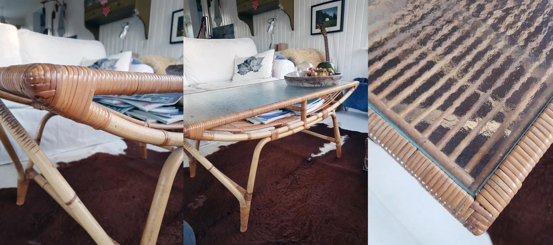 Detaljer af det fine bambus bord. Det skulle være dansk design fra 60'er eller 70'erne.