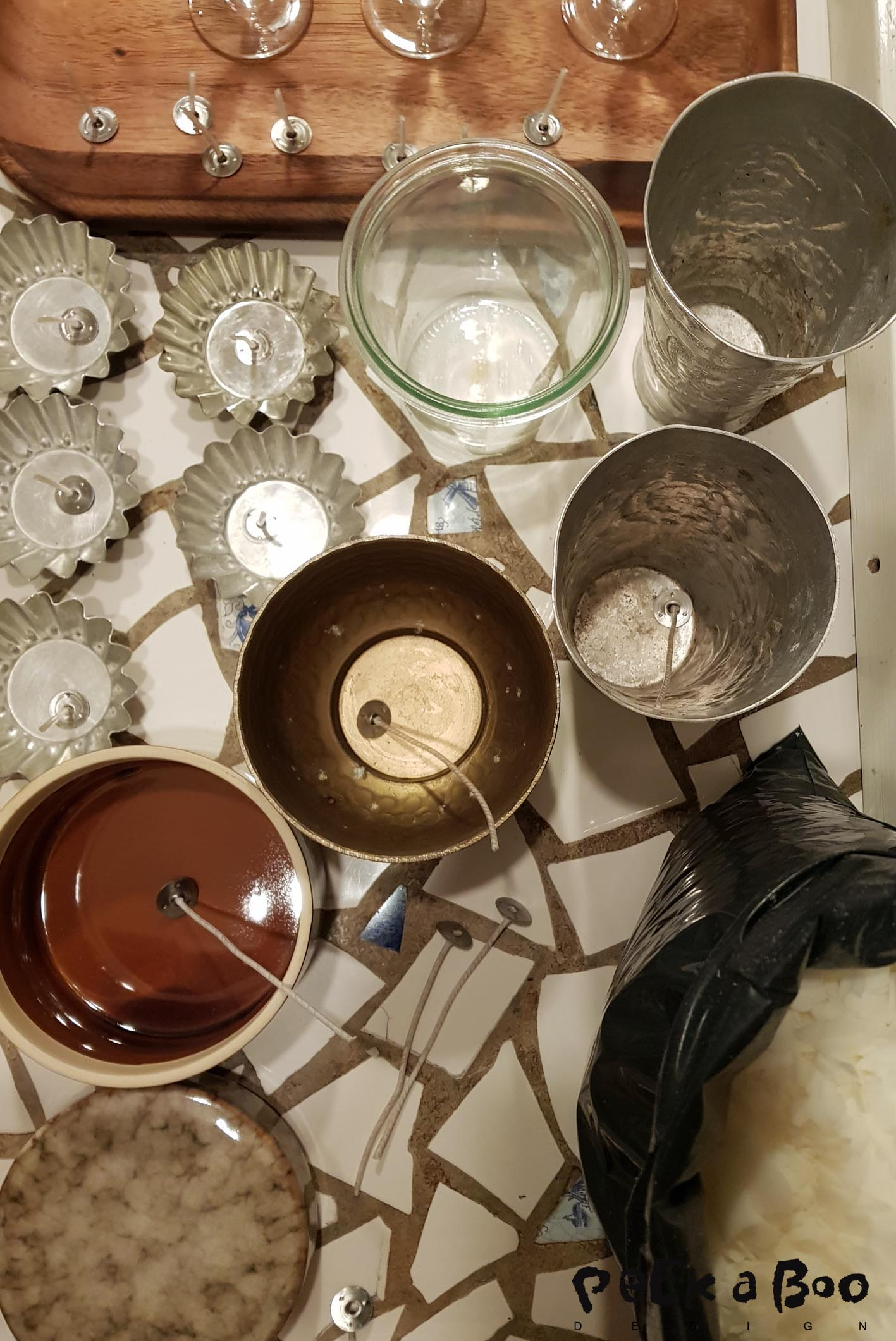 The materials you need for making the soya candlelights.