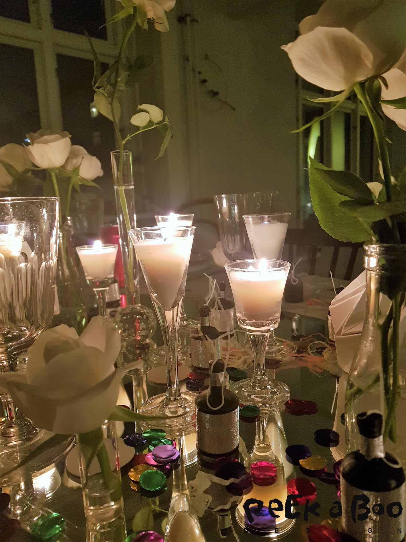 The New Years tablesetting after the lights were lit.
