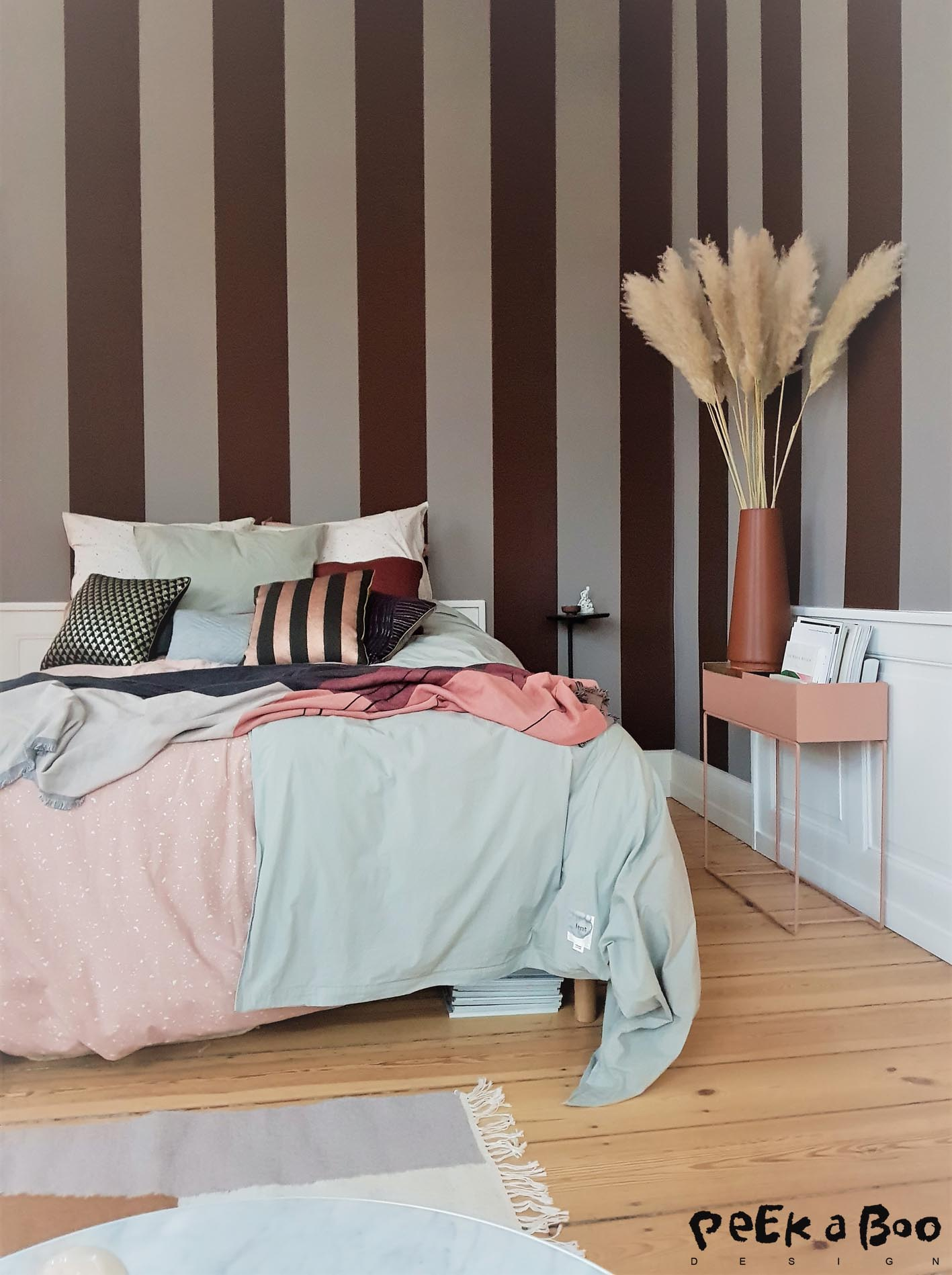 Bedroom dreams, the new striped wallpaper is fantastic.