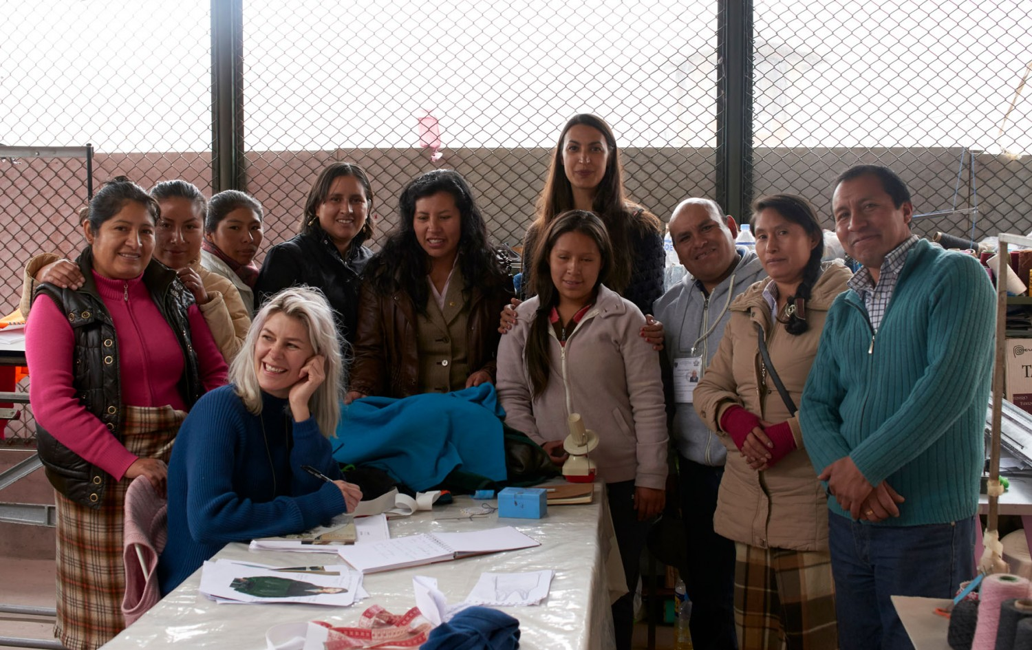 The team of knitters and the designers at the prison.