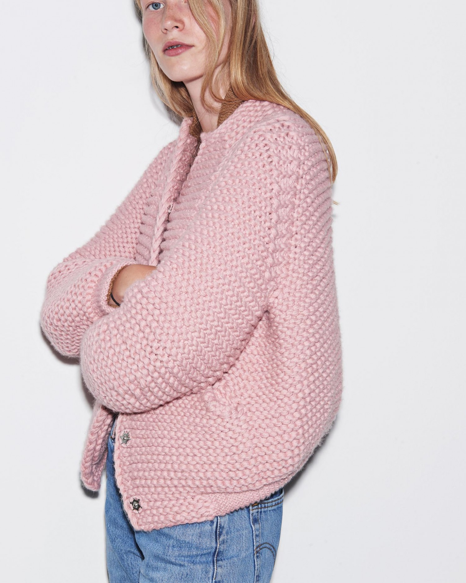 The heavy knitted bumber jacket, that has become an icon for Carcel.