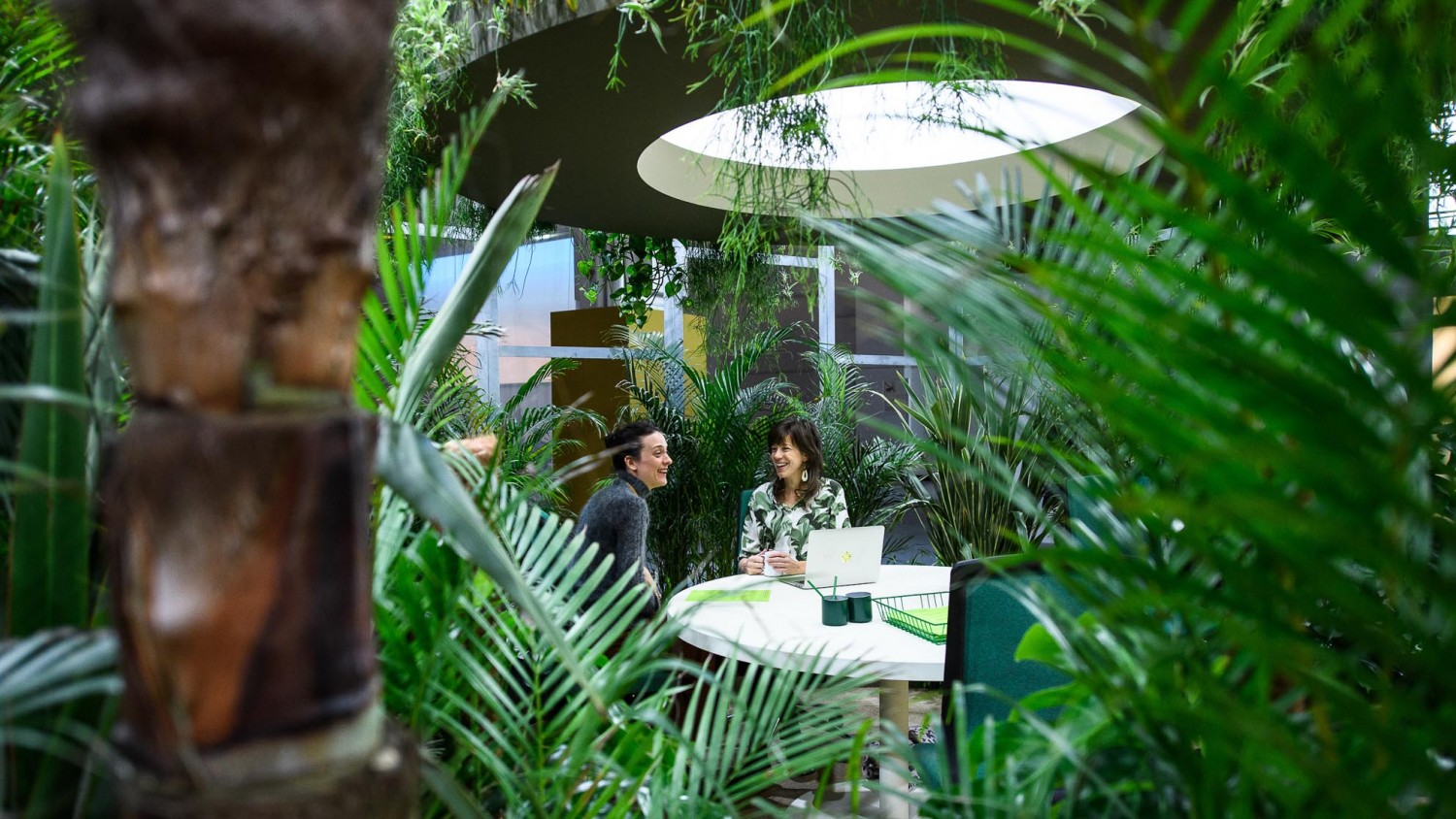 From the Heimtextil Themepark, here you see the green workspace by space encounters.