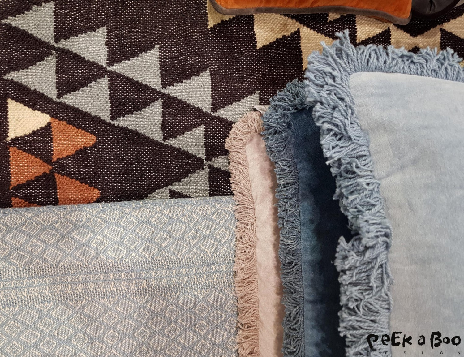 Woven textiles made by craftsmen of recycled plastic bottles. from liv-interior.