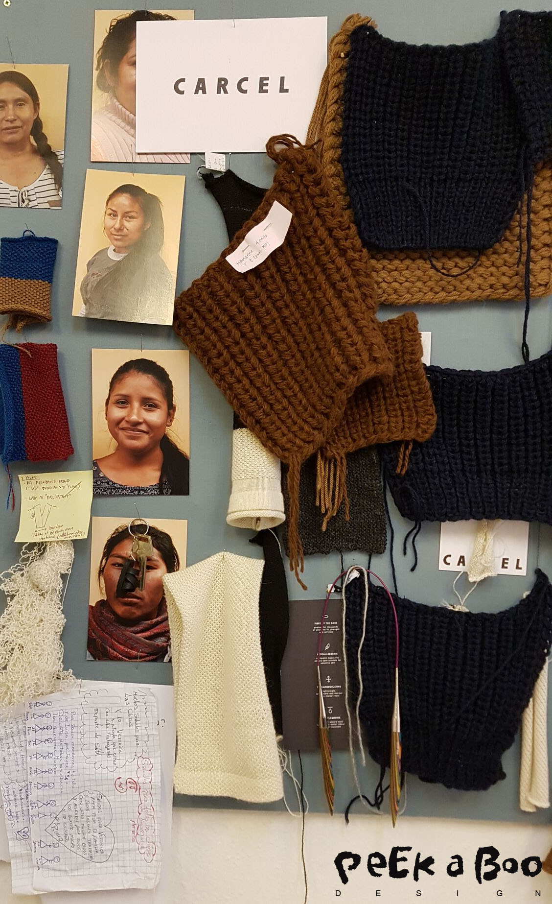 moodboard with knit samples and photos of the knitters in the prison. And even letters they have written ti the danish team.