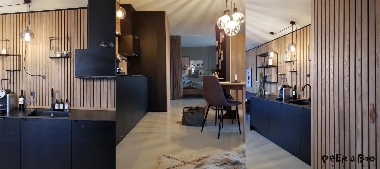 The kitchenarea in the urban microhome of Hotel Ferdinand.