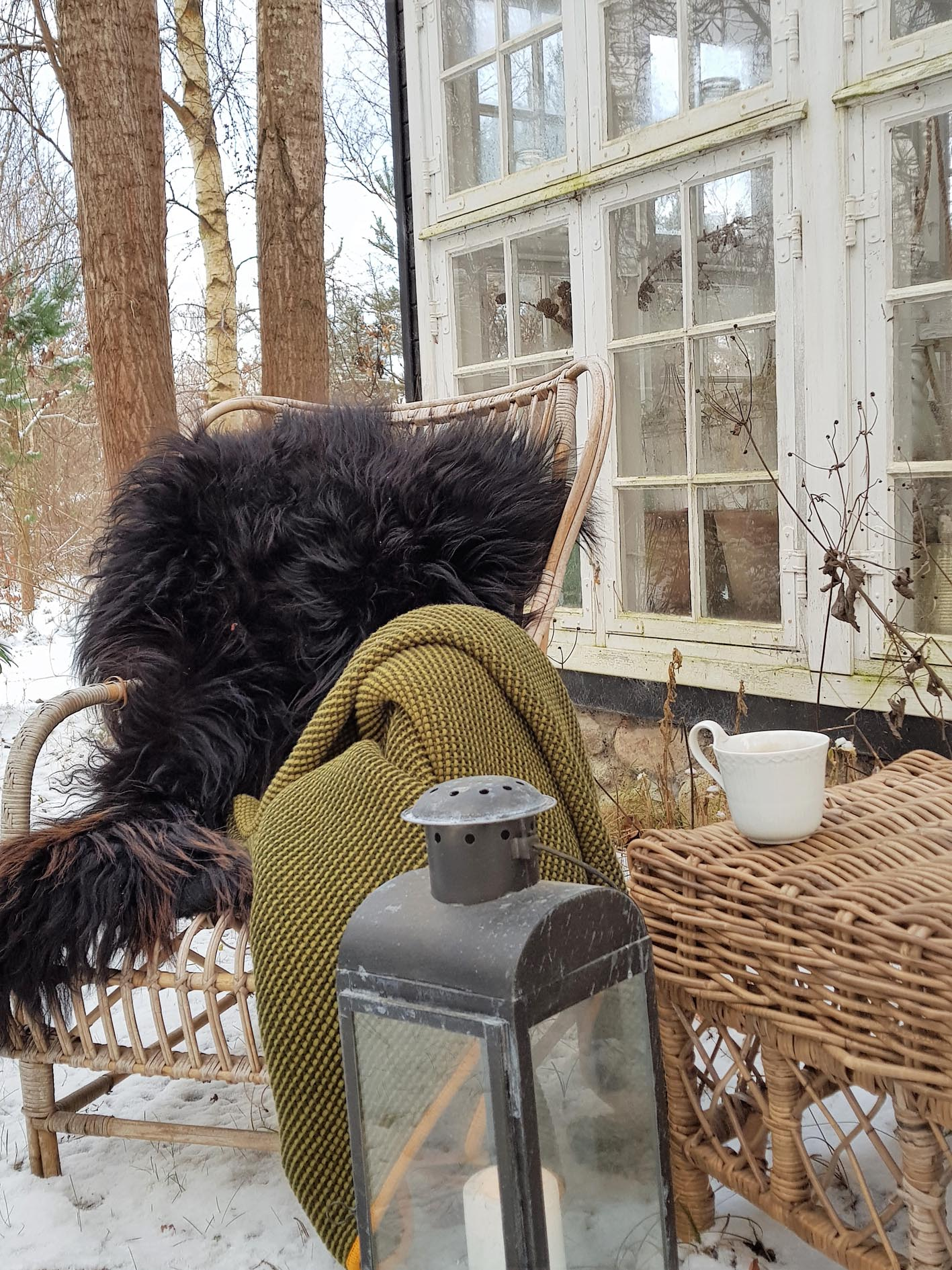 "I use a lot of sheepskins and blanckets to get the right ""hygge"" feeling to it."