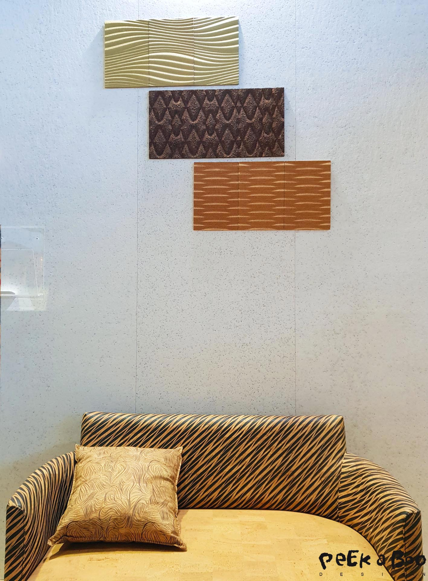 Sedacor makes all in cork, you can get cork-leather which you can use as here for uppolstering furnitures. And there is wallpaper made of very thin slices of cork. And the 3 D wallcovering which has a sound absorbing effect.