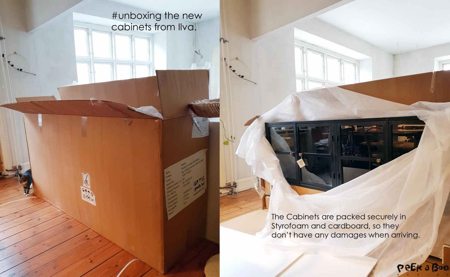 unboxing the cabinets.