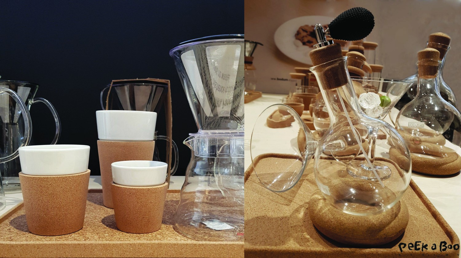 the danish kitchenware brand Bodum, has been using cork for a long time, these are some of their new designs.