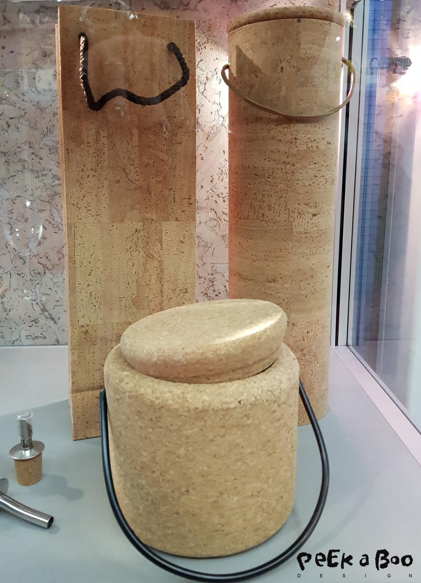 Ice and wine cooler made in cork, seen at Ambiente.