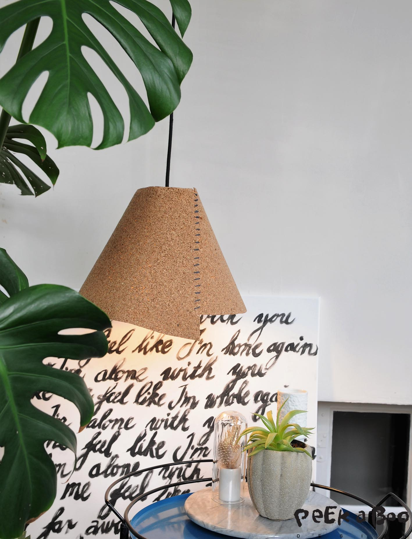 DIY cork lamp. Easy made of the cork you use for flooring.