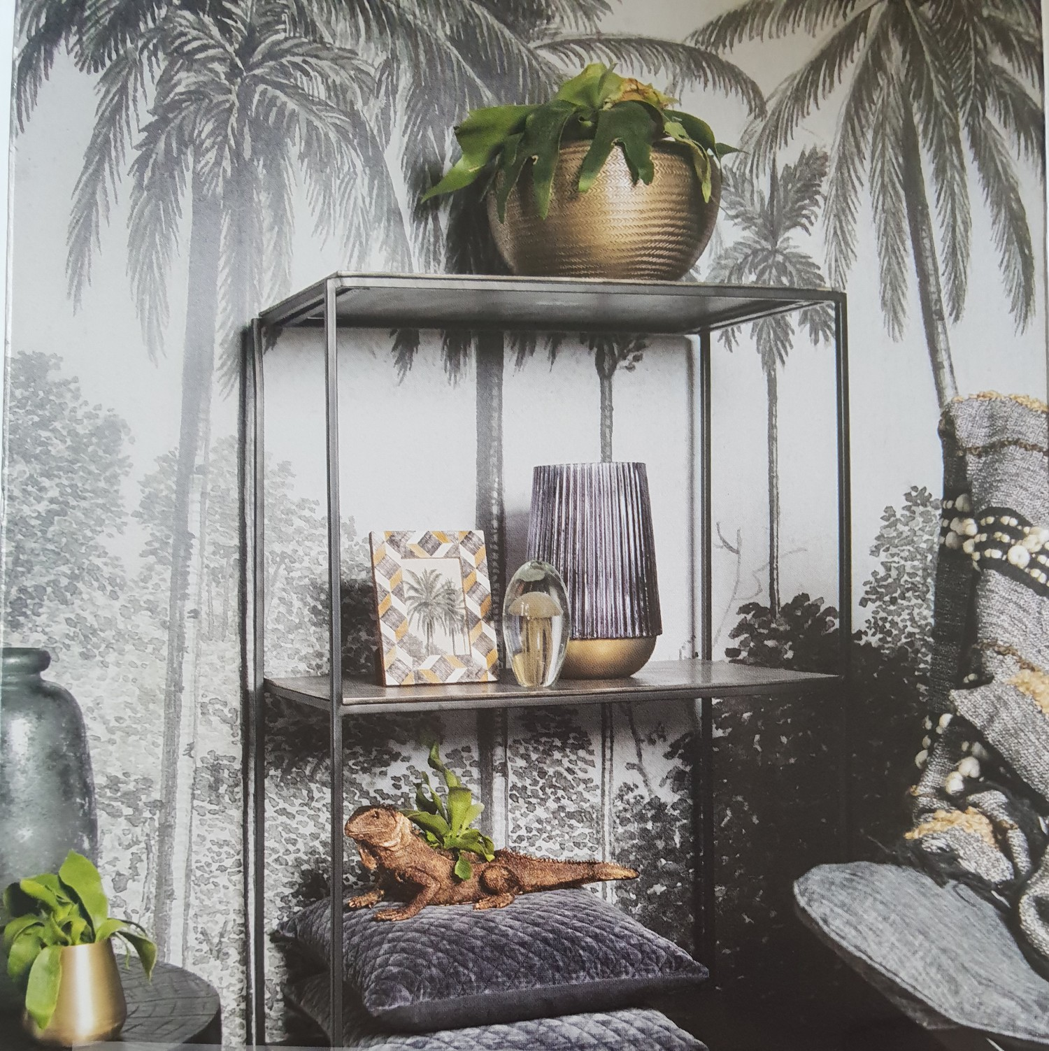 Beautiful botanical wallpaper with palms. seen at Tendence.