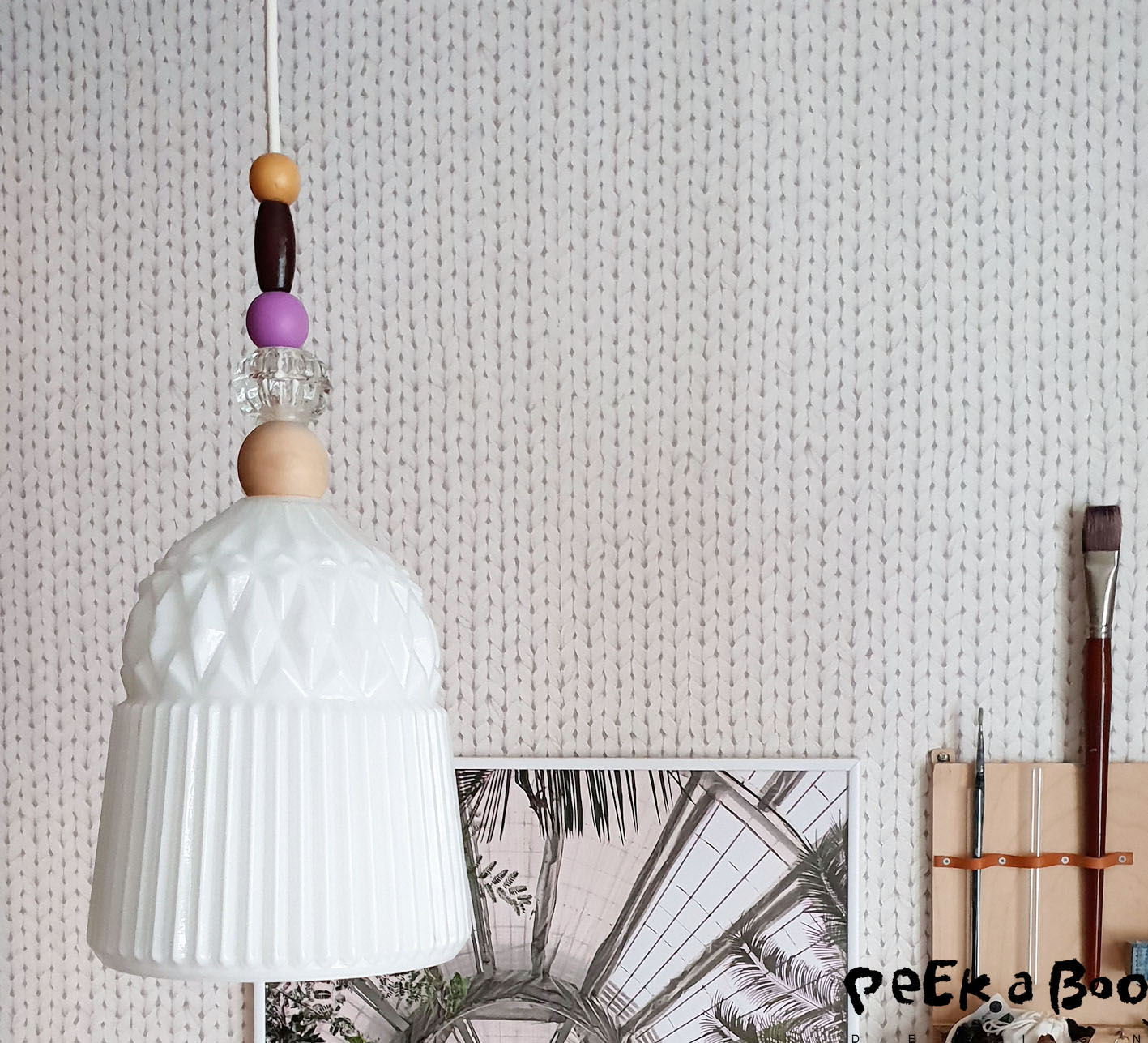 esta home wallpaper bought in Silvan and ikea hack lamp.