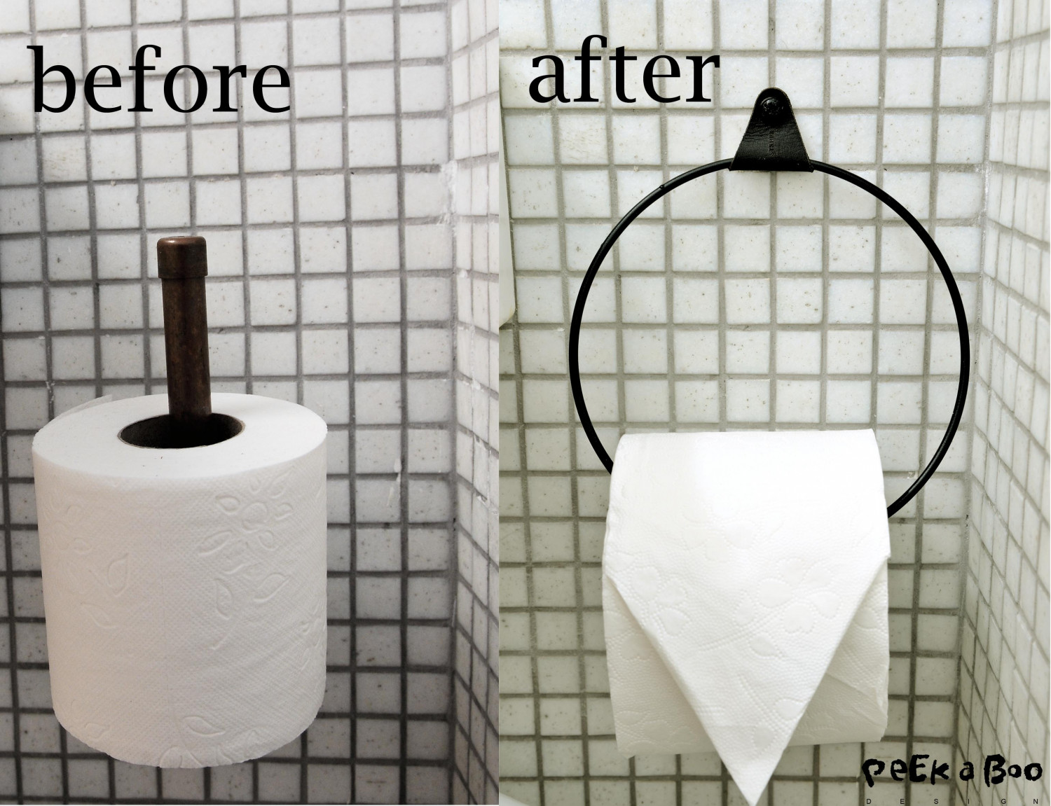 before and after the new styling with the DIY toiletpaper holder.