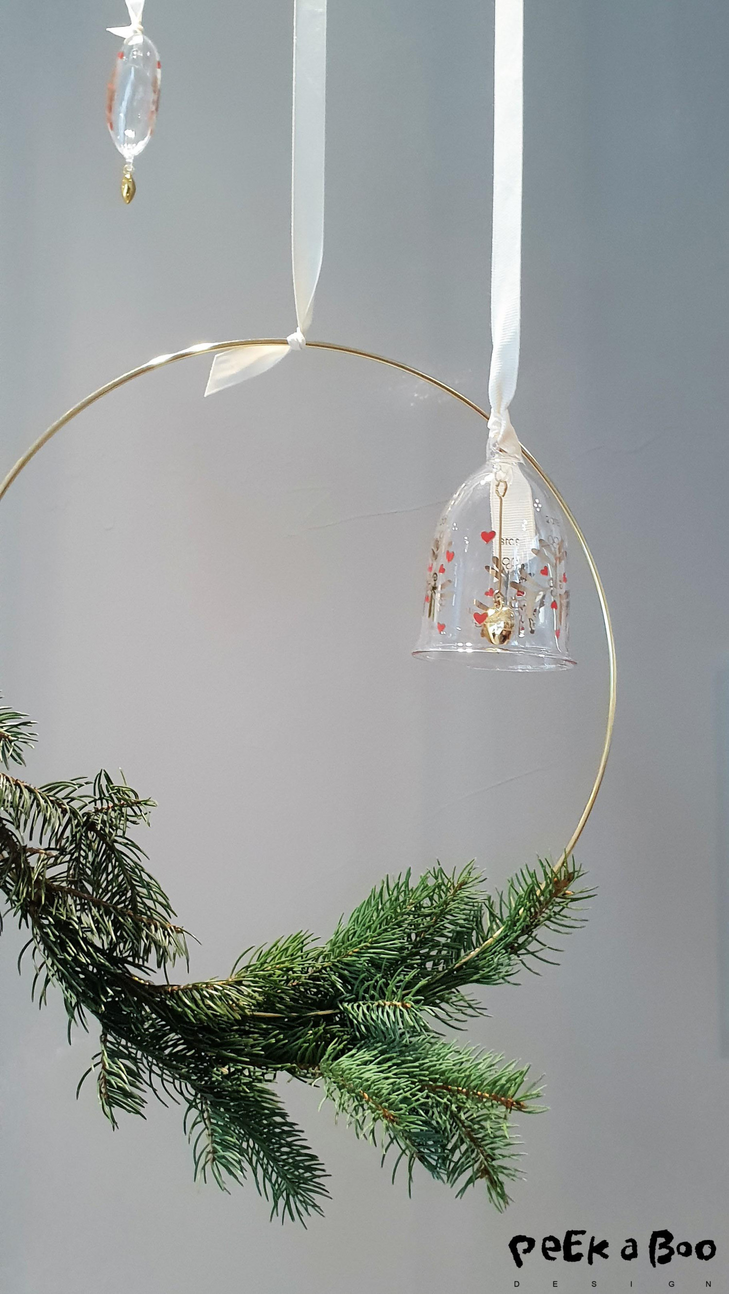 Holmegaard glass ornaments designed by Ann-Sofi Romme, are really cute on this simple wreath.