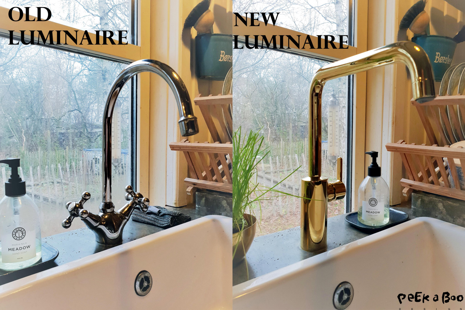 before with the old luminaire and see the big difference it does with the new brass one from Damixa.