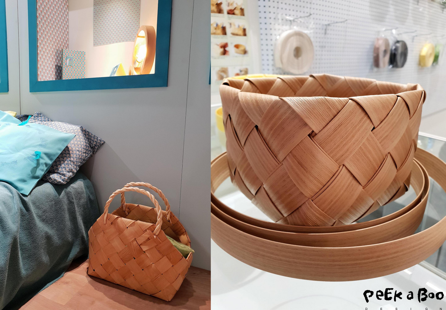 At the right the basket is made of wooden veneer. And the one on the left is made with the plastic strips looking like wood.