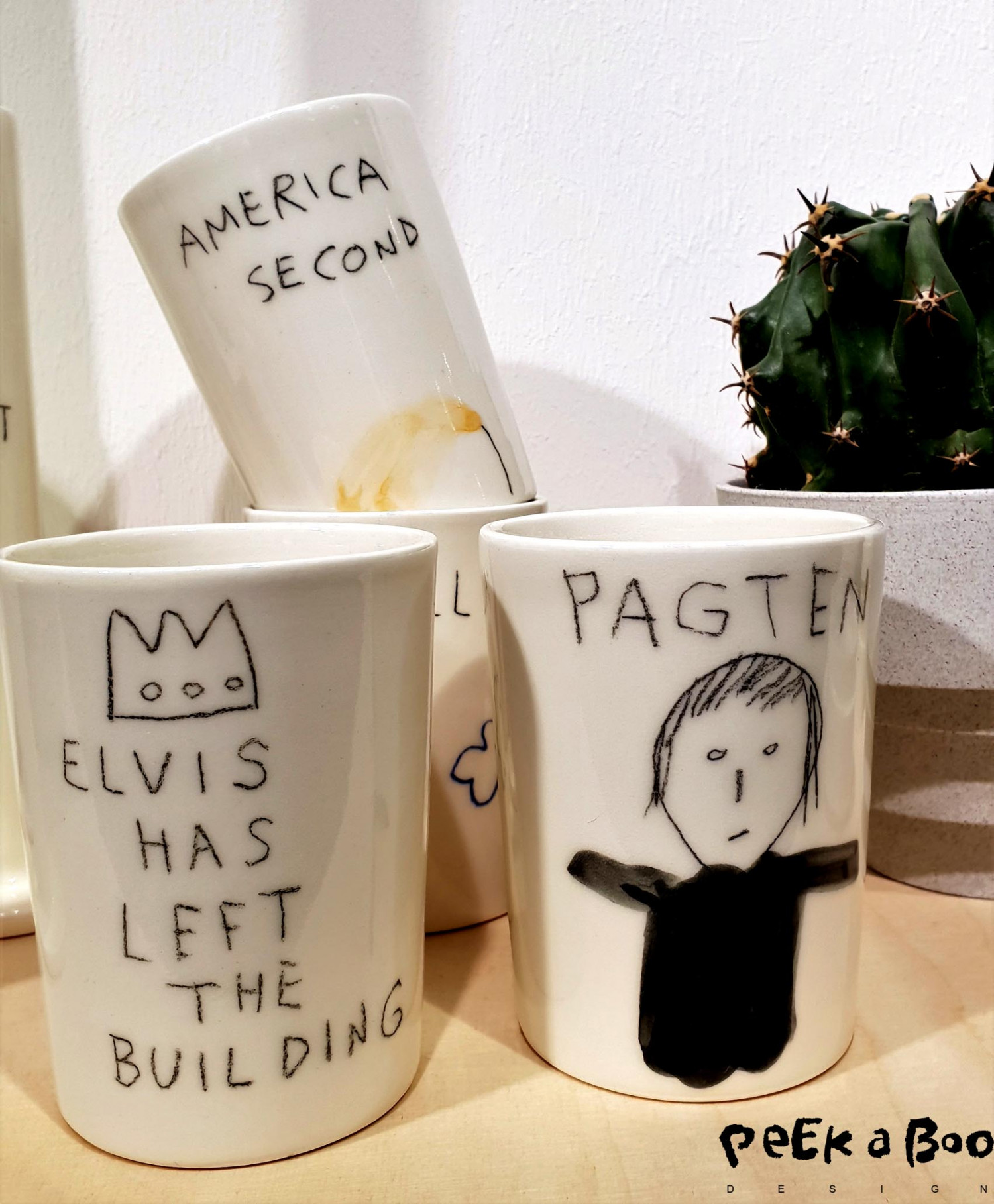The unique cup, from danish ceramic Lars Rank with cool and humorous statements.