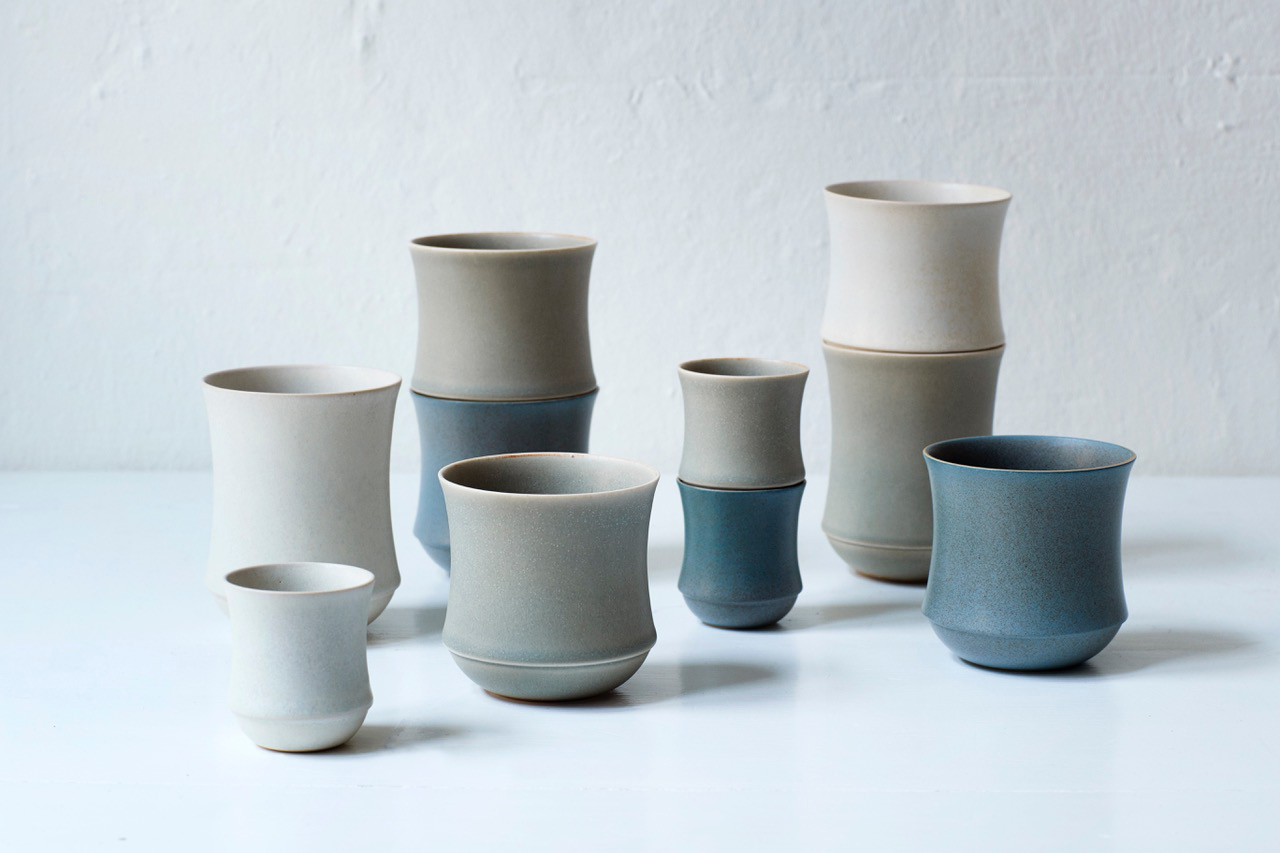 These cups are made by Kristina Vildersbøll and the shape is inspired by the bamboo. It can be stacked and has a glaze that fades from top to the bottom of the cup. foto: Christina Birch.