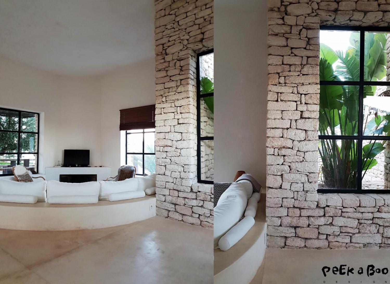 the simpel interior of the villa.