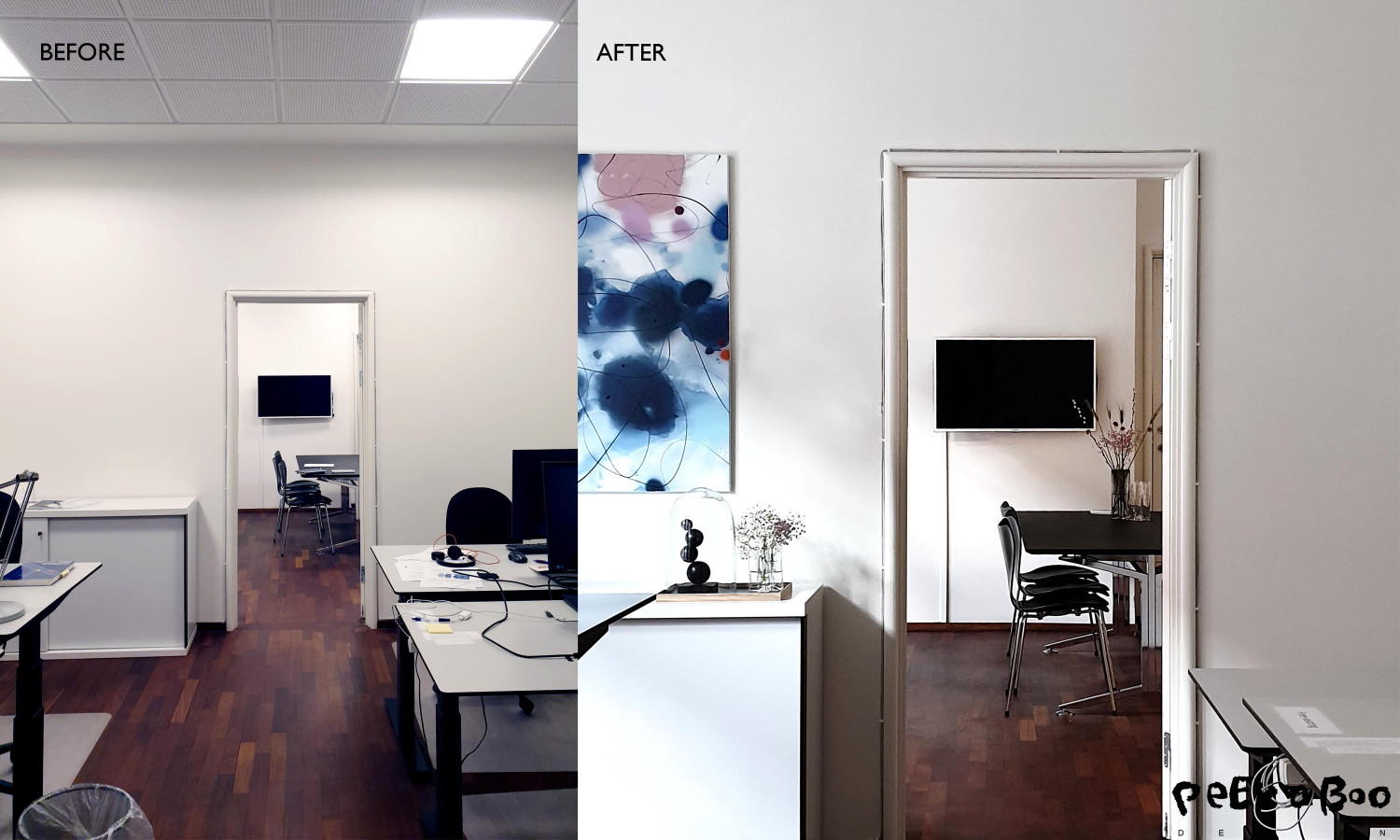 Here you can see one of the offices before and after. It has been added art and some styling.