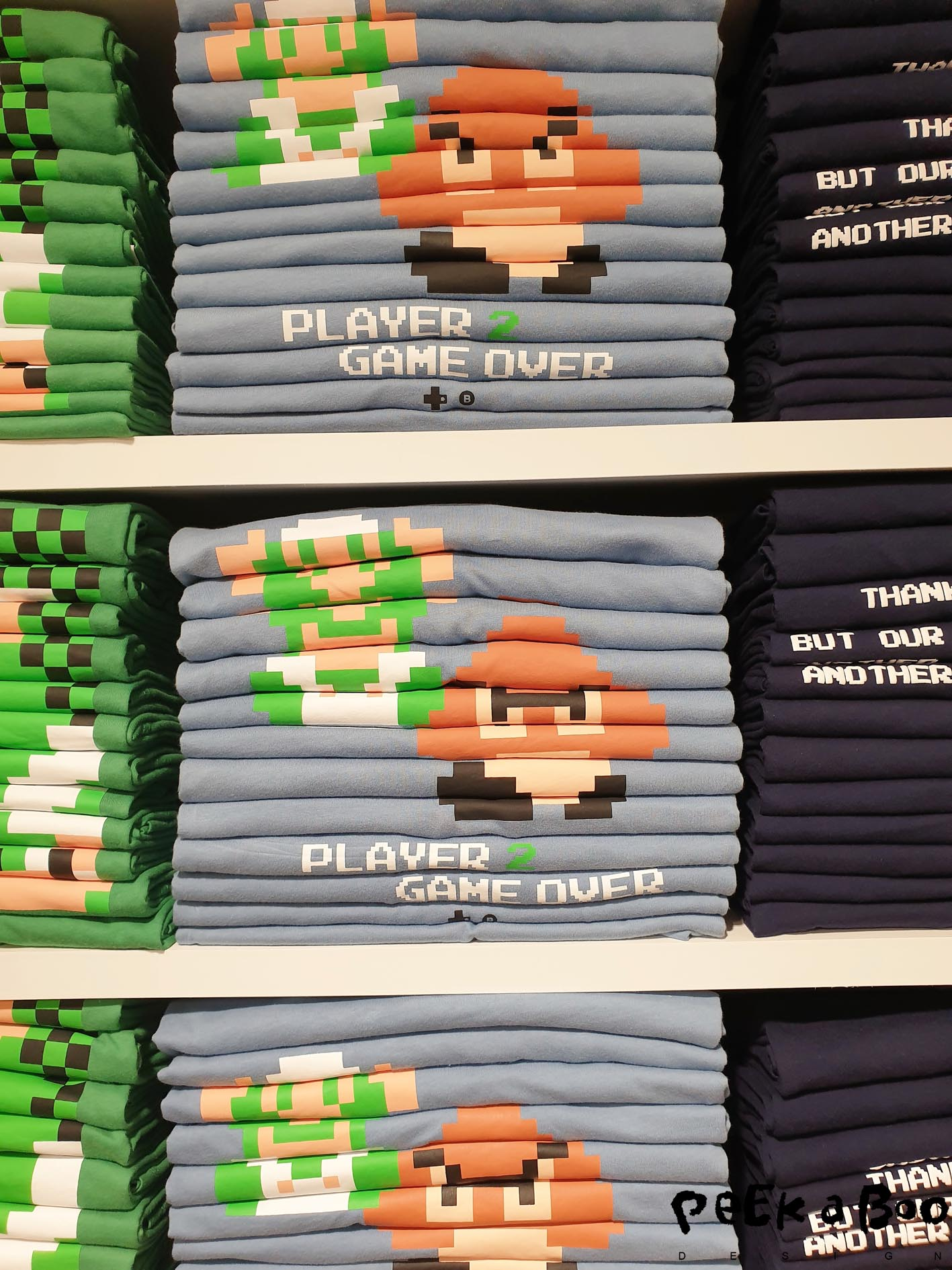 The japanese accuracy seen in the piles of printed teeshirts