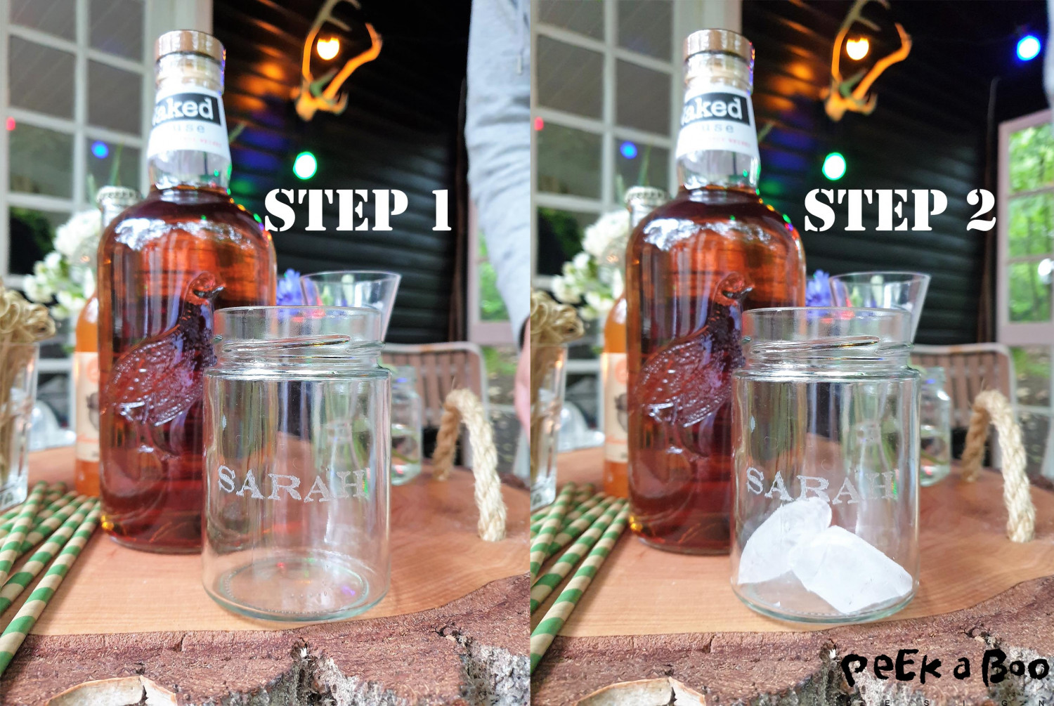 Step 1 and 2. Start by collecting the ingrediens on your table. Add ice cubes to your glass.