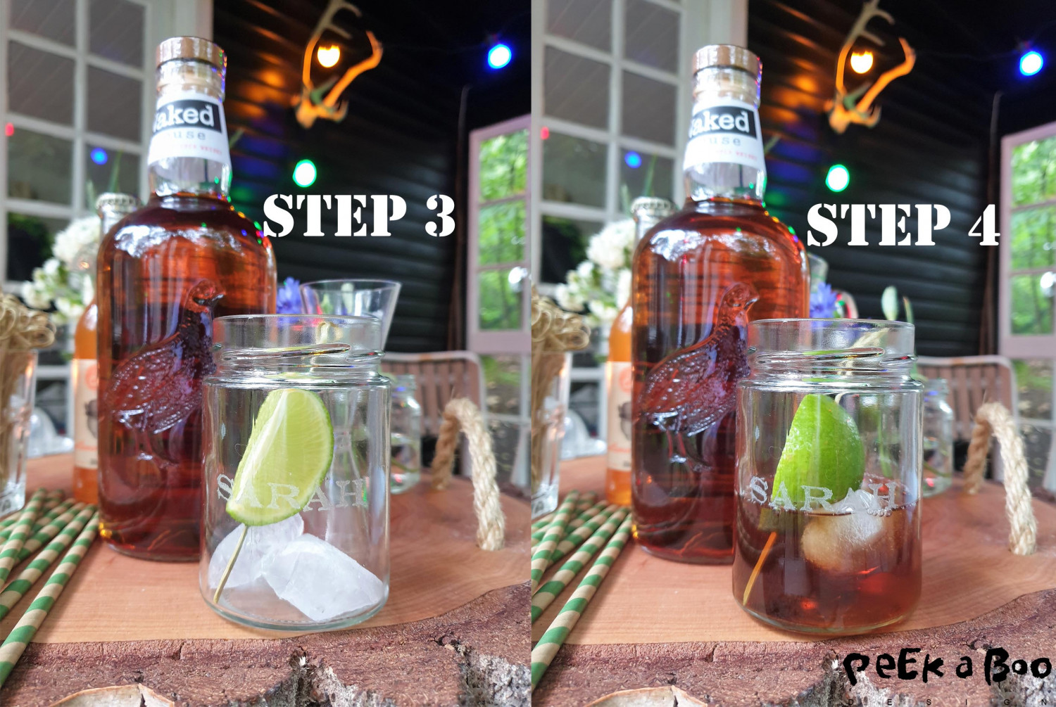 Step 3 and 4. Add a slice of lime to the bamboo drinks stick and poor the ice tea over.
