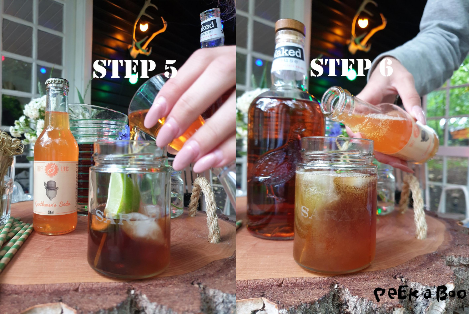 Step 5 and 6. poor the whisky over and top the drink with the Gentlemen's soda from Three Cent's.