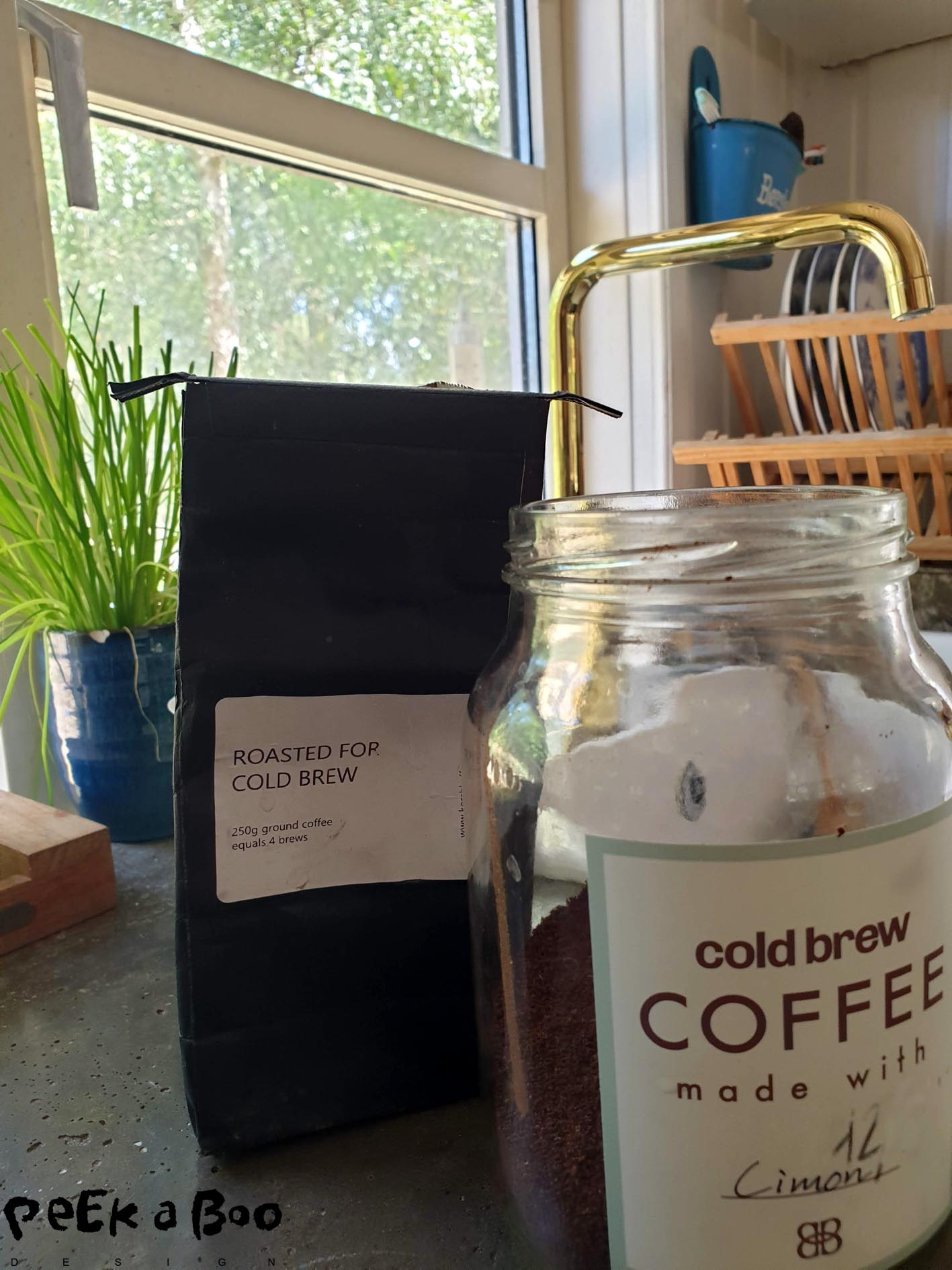 All you need for making your own cold brew is : coffee and water.
