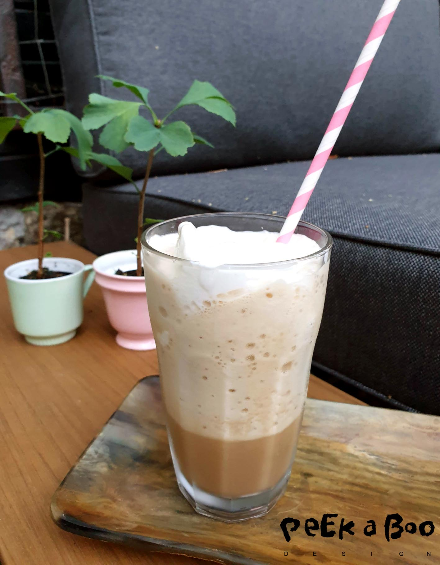 Homemade cold brew coffee frappé.
