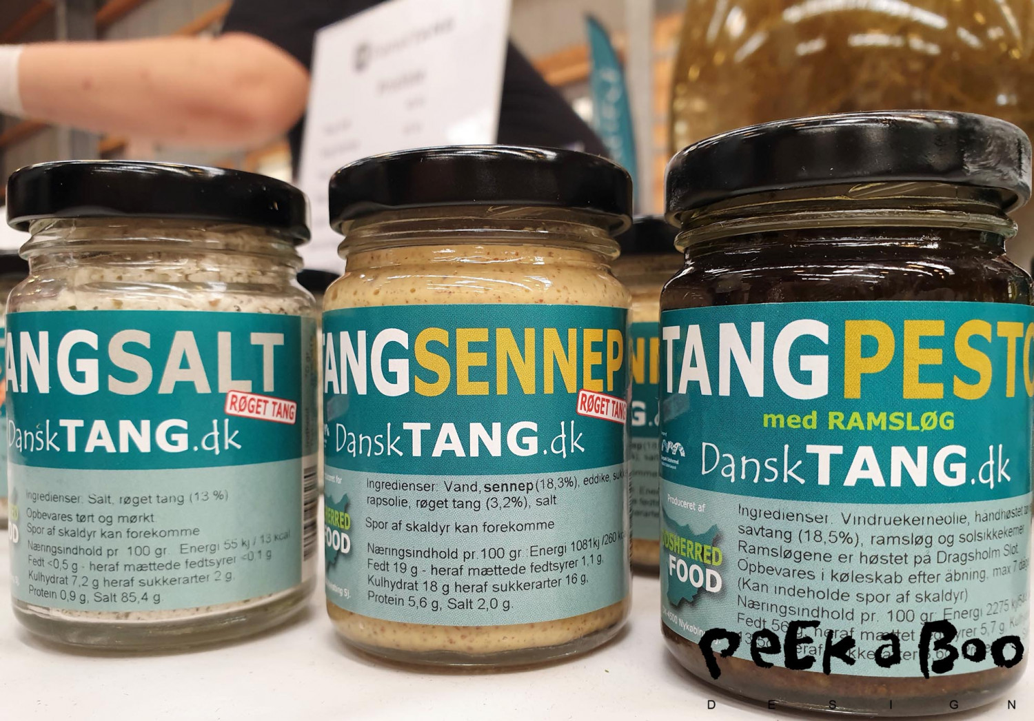 "Pesto, mustard and salt made with seaweed from the danish brand "" dansk Tang""."