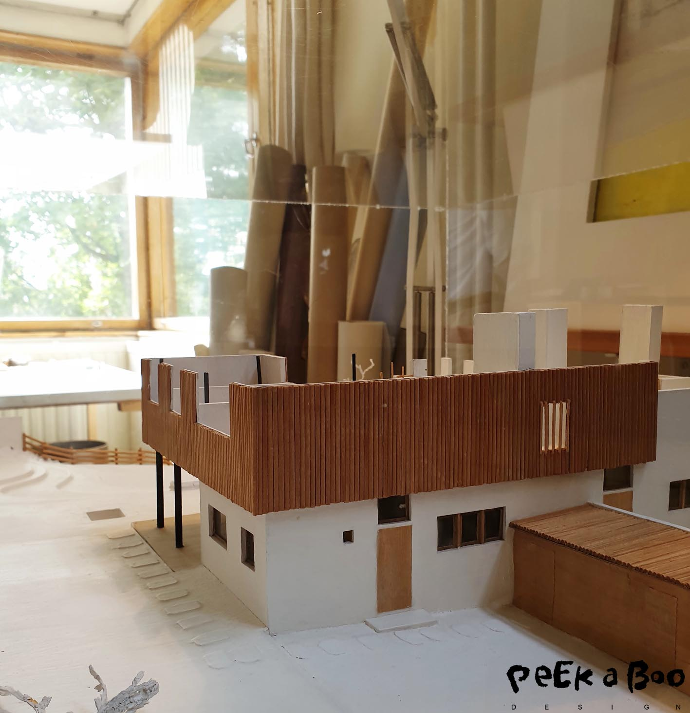 Small models of houses that he designed from his studio.