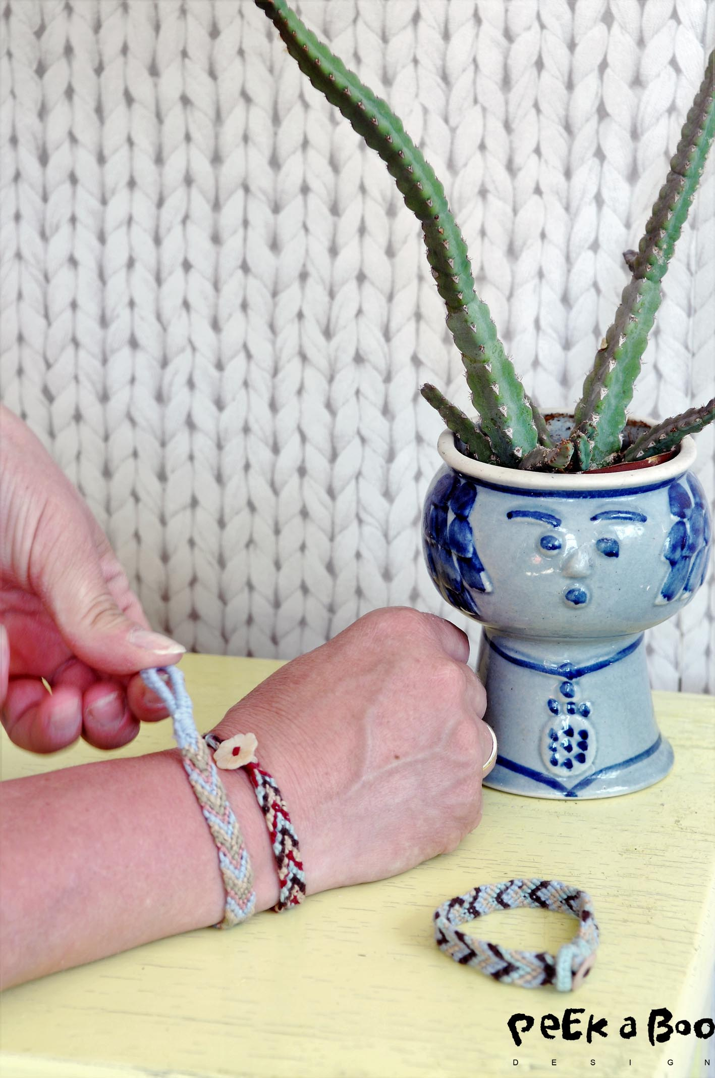 freindship bracelet made of cotton yarns.