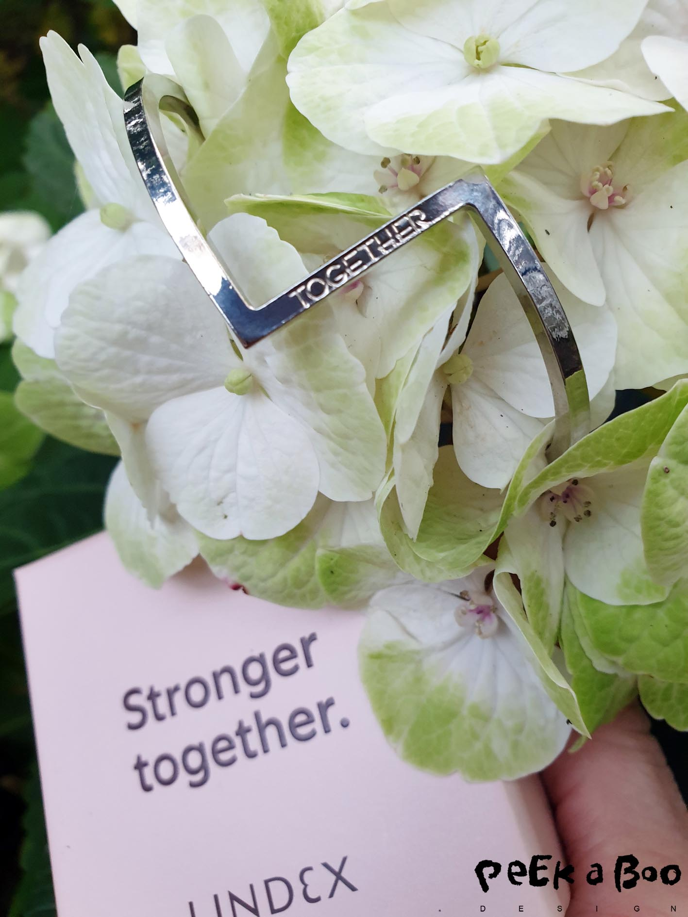 "I bought this pretty bracelet with the text together....and I really like the quote ""Stronger together"" because that is so true."