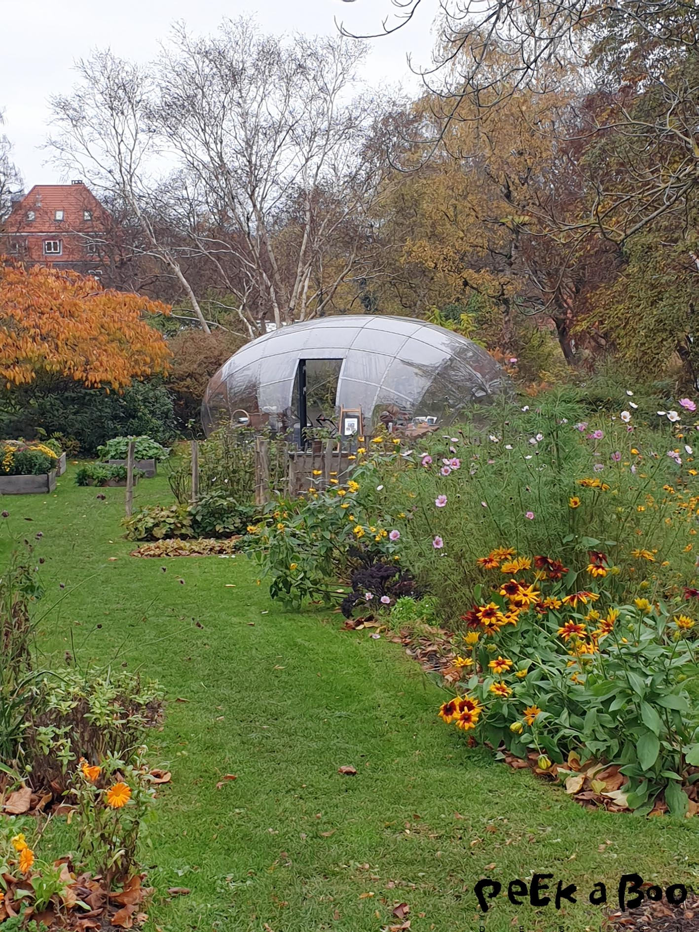 The social flowergarden by the hospital with the dome greenhouse.