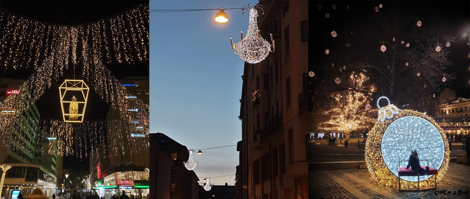 All the pretty christmas lights all over town in Malmo.