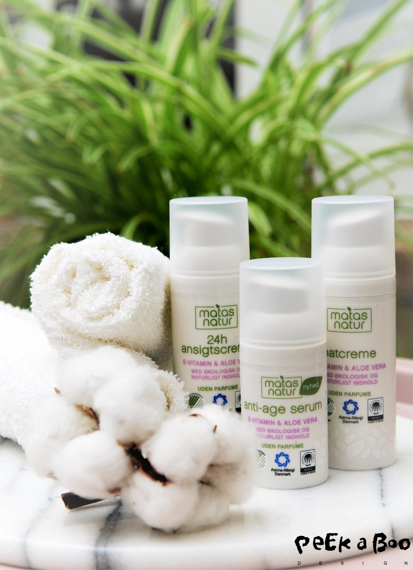 The new organic line from Matas Natur for my facial daily routine. I have the anti-age serum and 24 hour face creme both with vitamine E and Aloe Vera.