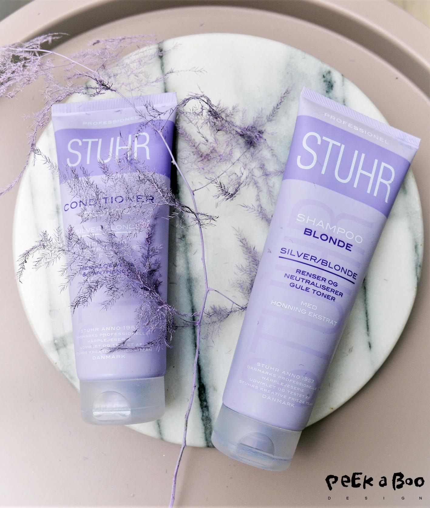 This purple blueish shampoo and conditioner from Stuhr.