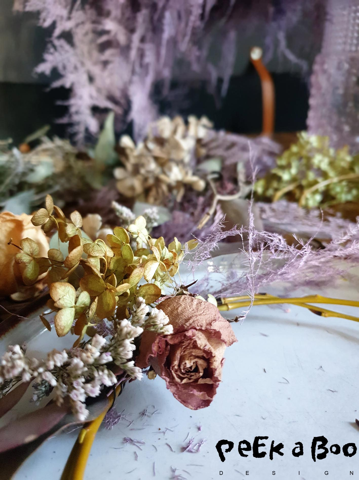 The  dried flowers you need for the project.