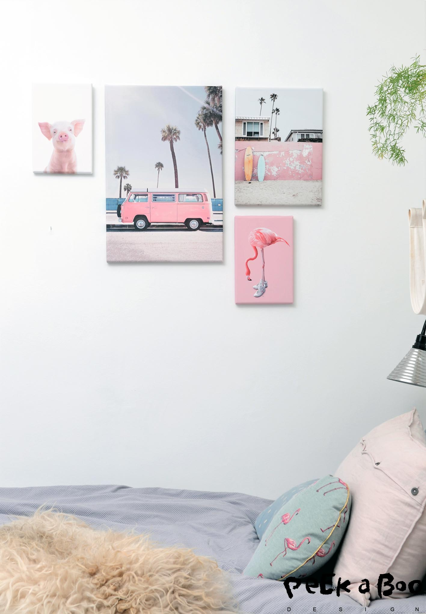 Floras pastel wall with photos on canvas.