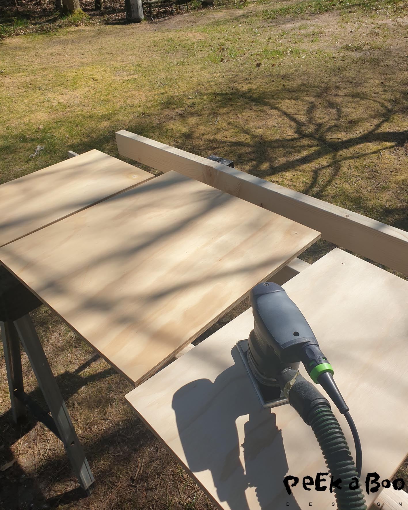 Here I grind the varnish from earlier so that the new stain can penetrate the wood.